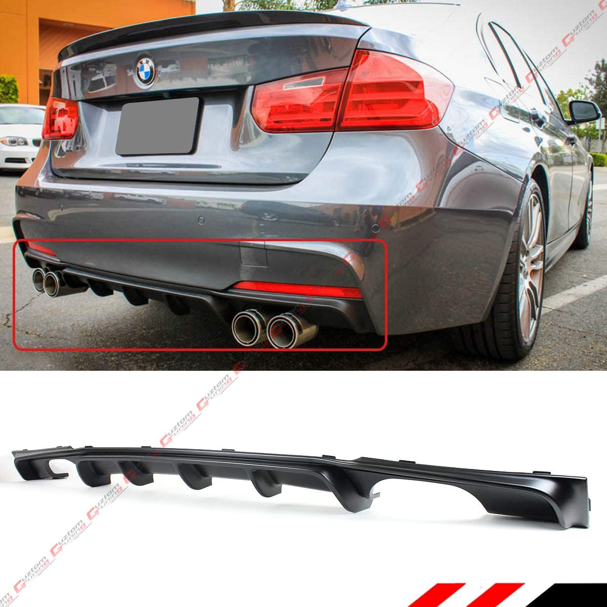 FITS FOR 2012-2018 BMW F30 F31 M SPORT PERFORMANCE STYLE BLACK QUAD EXHAUST TIP REAR BUMPER DIFFUSER VALANCE