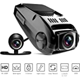 Dual Dash Cam, Tryace T8P Full HD1080P 170 Degree Wide Angle Dashboard Camera Recorder with G-Sensor,WDR,Loop Recording,Super Night Vision Front and Rear Car Dash Camera