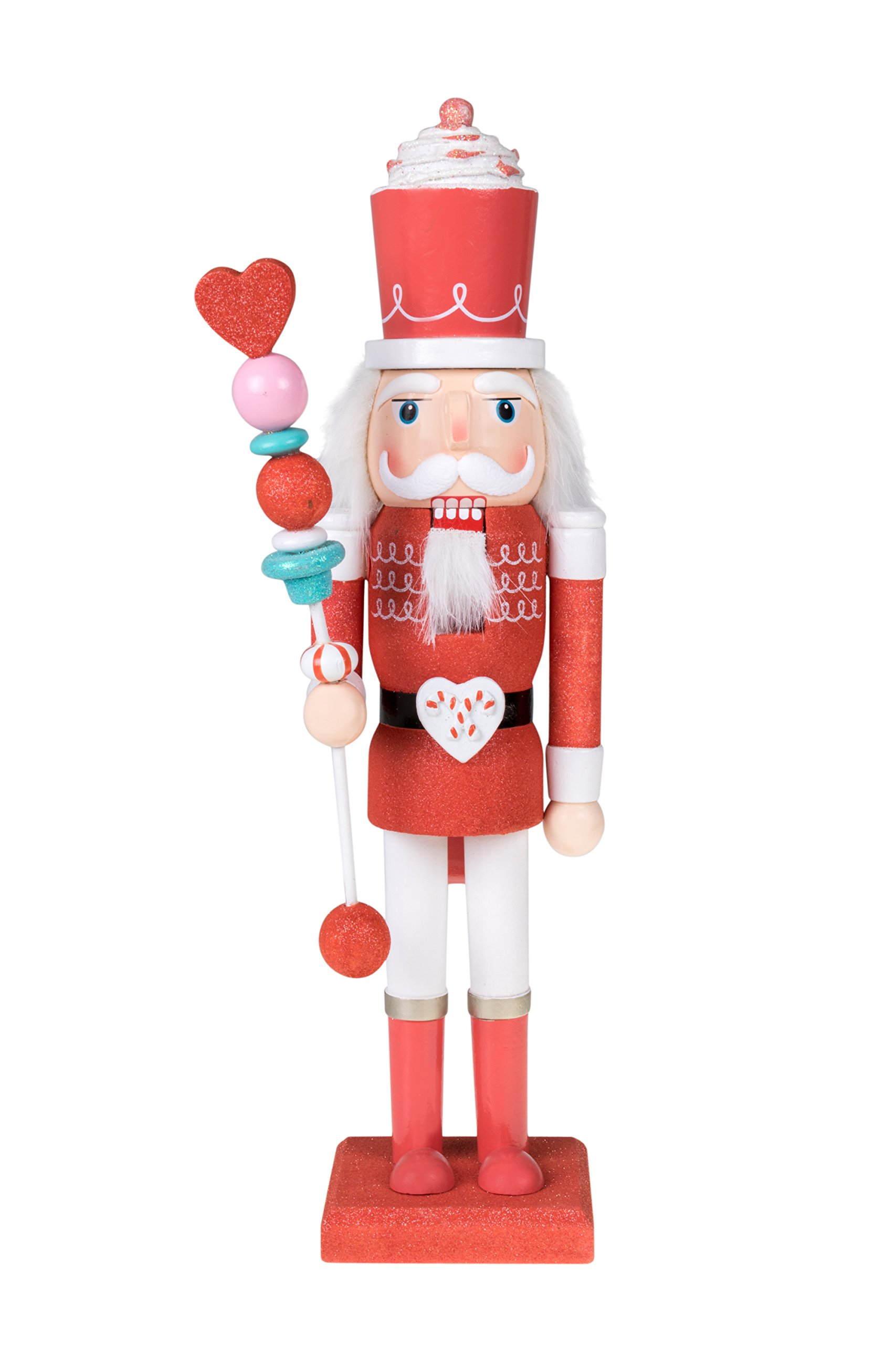 Clever Creations Candy King Nutcracker Red Sparkle and White Uniform | Cupcake Crown and Candy Scepter | Collectible Wooden Christmas Nutcracker | Festive Holiday Decor | 100% Wood | 15'' Tall