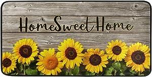 """Kitchen Rug Mat Non-Slip Doormat Home Sweet Home Sunflowers On Wooden Home Decor Floor Rug Standing Mat, Washable Hypoallergenic Waterproof (39""""x 20"""")"""