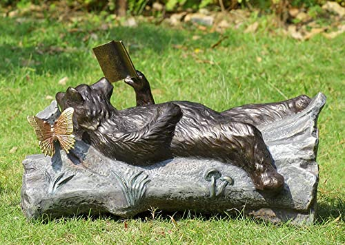 Ebros 24″ Long Aluminum Whimsical Butterfly and Lazy Grizzly Bear Resting On Forest Tree Trunk Couch Reading A Book Garden Statue Rustic Wildlife Western Cabin Bears Decor Figurine