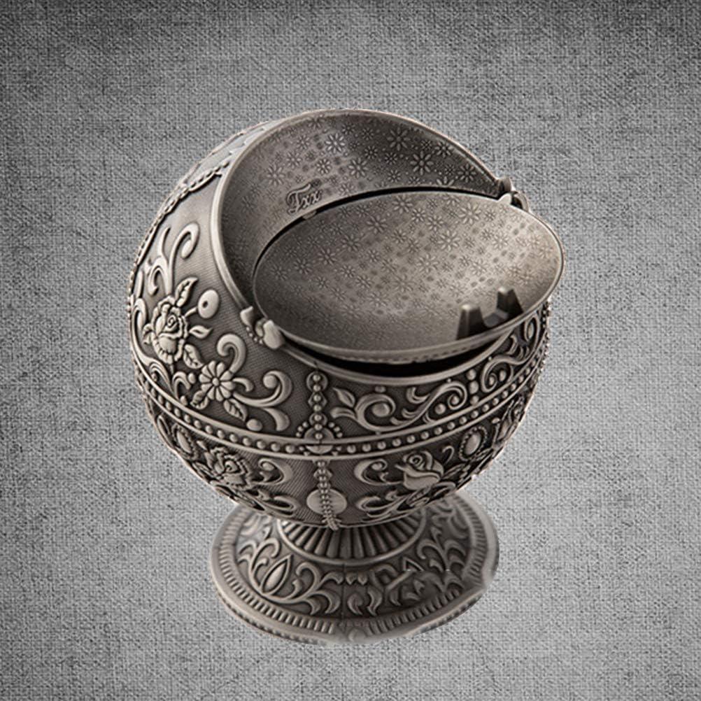 Artisanat en m/étal cr/éatif r/étro globe globe d/écoration avec couvercle d/écoration maison salon cendrier