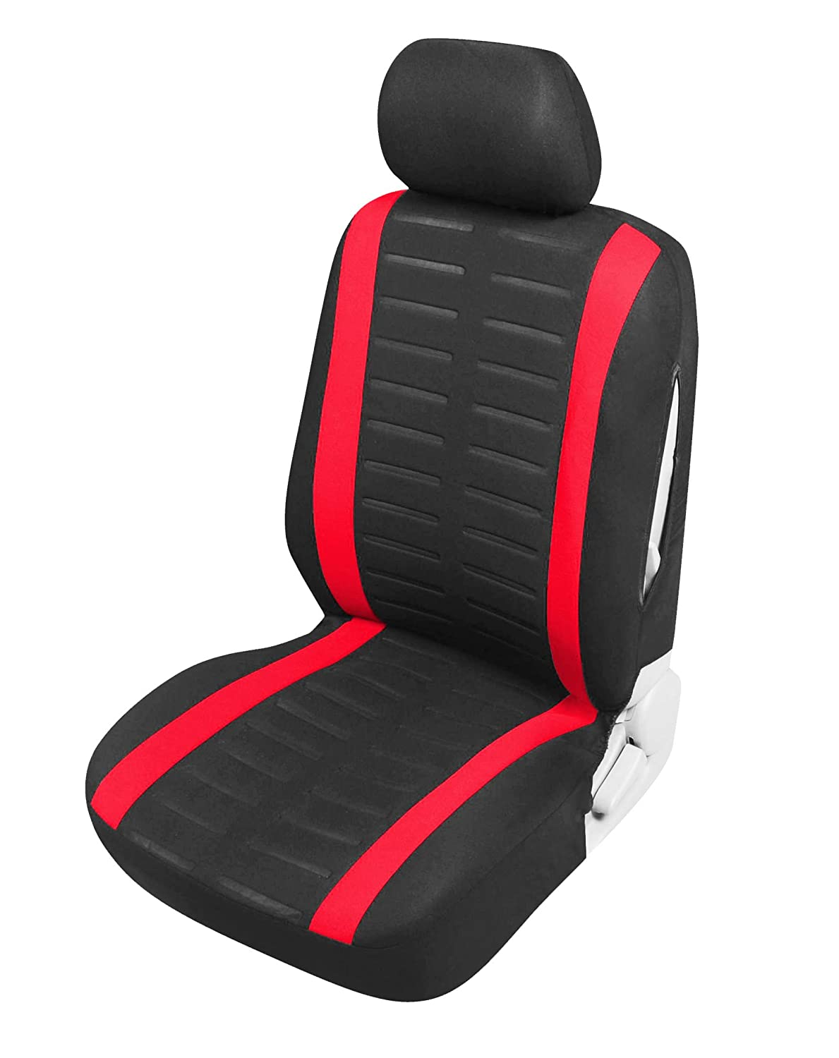 Universal Carseat Protectors for Driver and Passenger Automotive Accessories Interior Air Bag Compatible upgrade4cars Car Seat Covers Front Pair Red and Black
