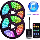 ELlight LED Strip Lights with Music Sync, 32.8ft Dream Color LED Lights, Color Changing LED Strip Lights with Remote for Home Lighting Kitchen Bed Flexible Strip Lights for Bar Home Decoration