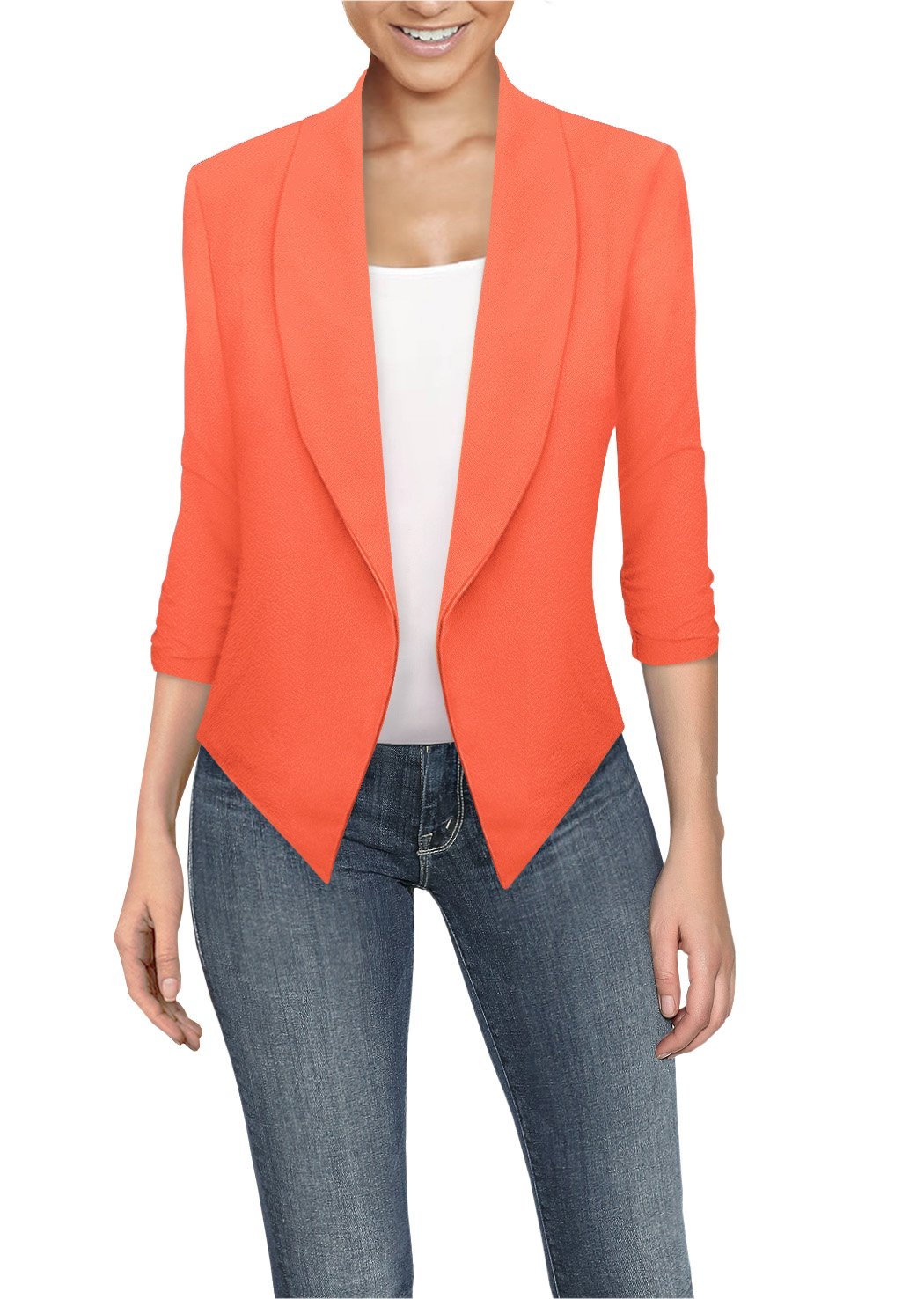 HyBrid & Company Womens Casual Work Office Open Front Blazer JK1133 Neon Coral XLarge