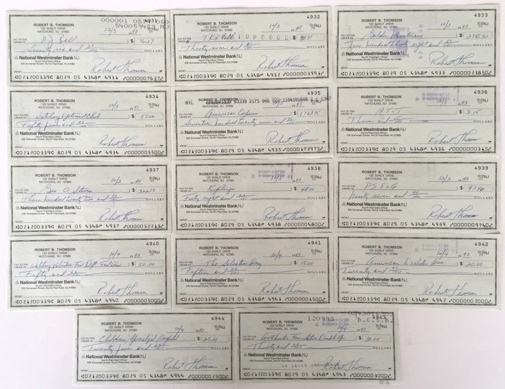Bobby Thomson New York Giants Autographed Signed Personal Checks 4931 4943 JSA