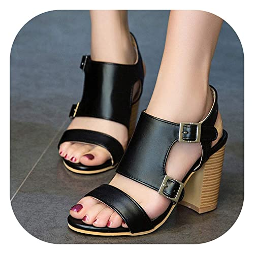 504bc6db6fb Women 2019 Women Sandals Buckle Ankle Strap Block High Heels Fashion Summer  Sandals