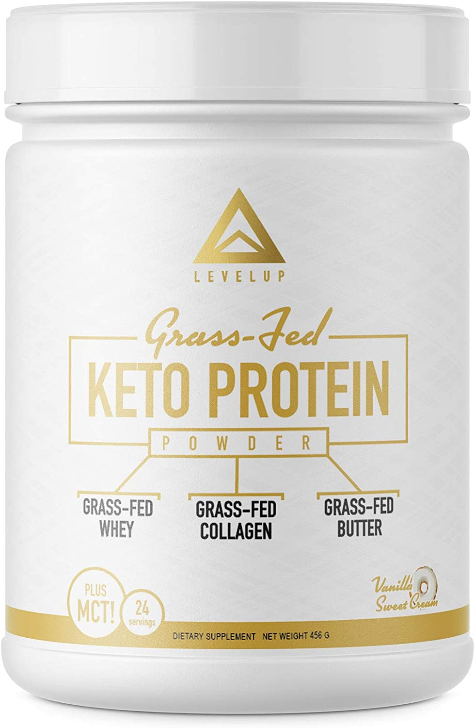 Grass-fed Keto Protein Powder Collagen Peptides Pure C8 MCT Oil Irish Butter Whey Protein Isolate Best Ketogenic Protein Shake Supplement by LevelUp Vanilla Sweet Cream