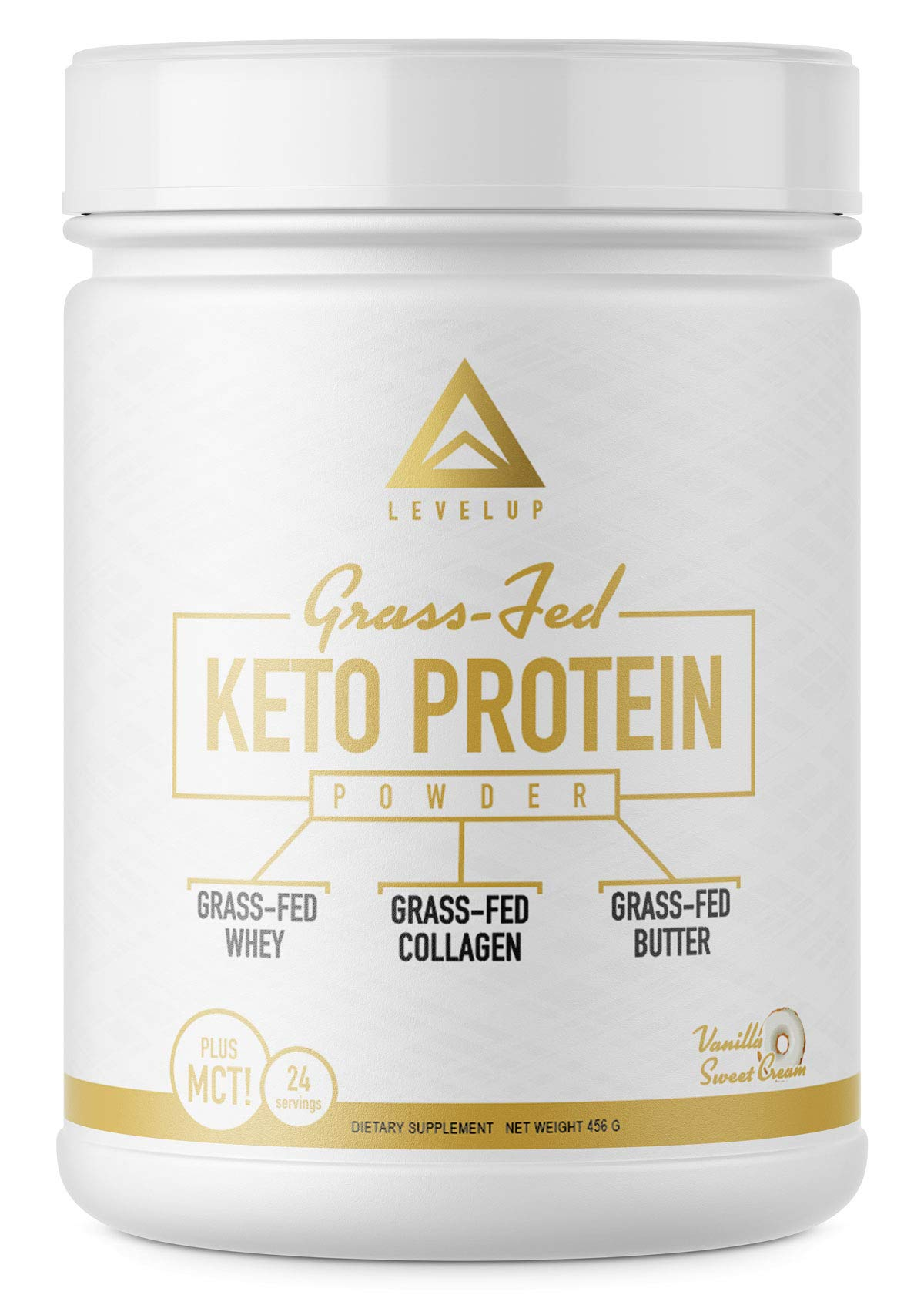 Grass-fed Keto Protein Powder: Collagen Peptides   Pure C8 MCT Oil   Irish Butter   Whey Protein Isolate   Best Ketogenic Protein Shake Supplement   by LevelUp® (Vanilla Sweet Cream)