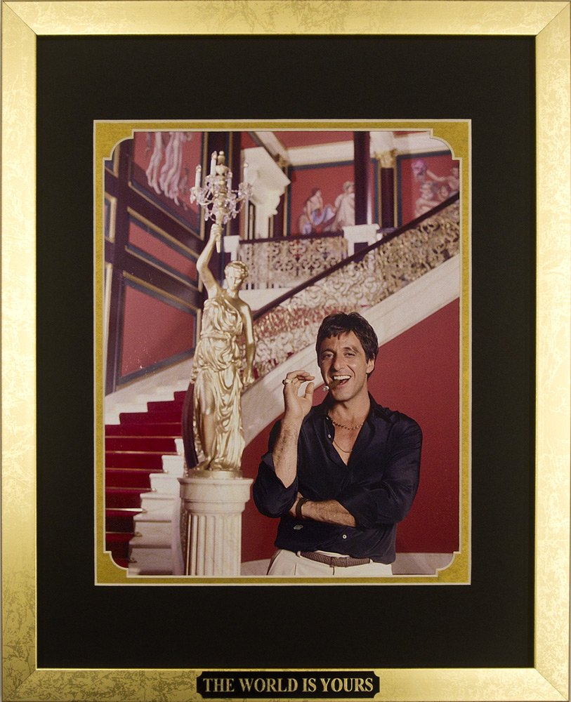 Amazon scarface al pacino as tony montana with cigar amazon scarface al pacino as tony montana with cigar framed photo in the custom made modern scratched gold wood frame 125 x 155 printmaking jeuxipadfo Images