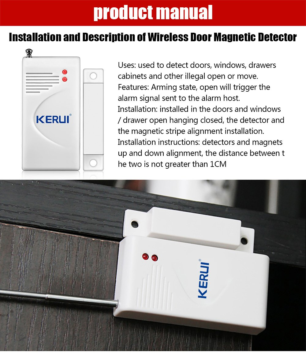 Amazon.com: 433MHz Wireless Door/Window Magnetic Sensor For GSM Home Security Alarm Systems: Home Improvement