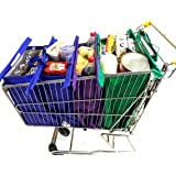 Shopping Cart Bags with TWO Thermo Bags for Cold or Hot Products. Reusable Shopping Bag Fold Easily. 100% Eco-Friendly Trolley Bags Connected with Velcro. Grocery Bags Sized for Standard US Carts