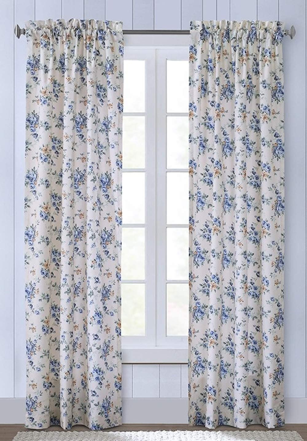Thermalogic Cabbage Rose Floral Rod Pocket Curtain by Commonwealth Wedgewood, 80W x 84L Pair