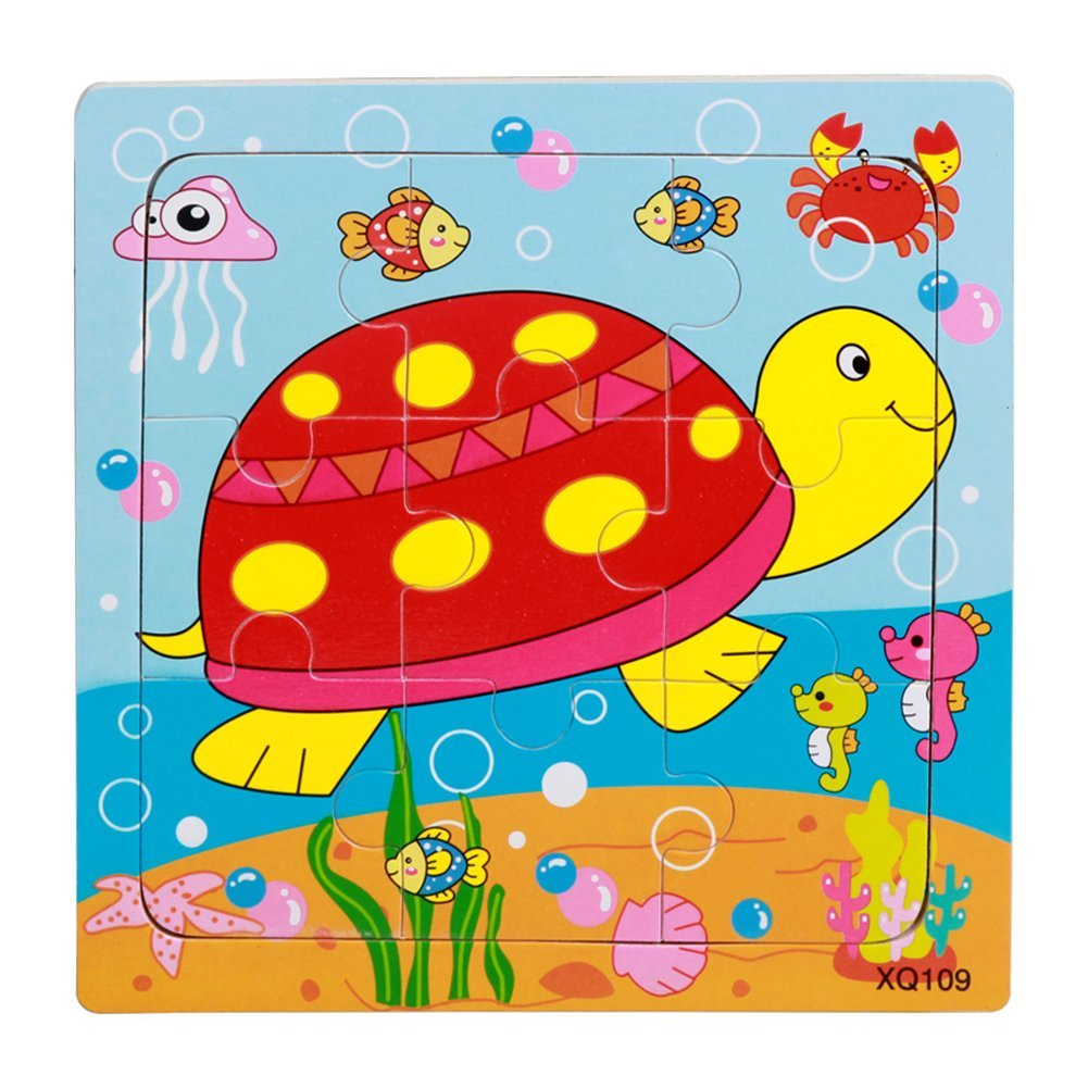 Remeehi 9 Pieces Simple Wooden Puzzles for Toddlers Educational Ocean Animal Puzzles Turtle