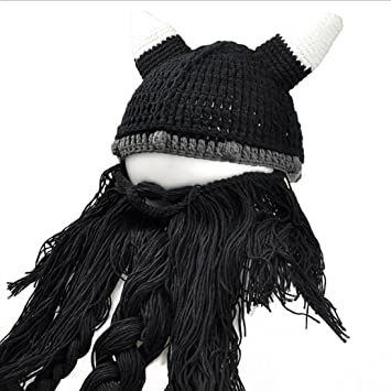 JIAFA Sombrero de Lana con Barba Peluca Creativo Personalidad de Halloween Tapas Hechas a Mano,
