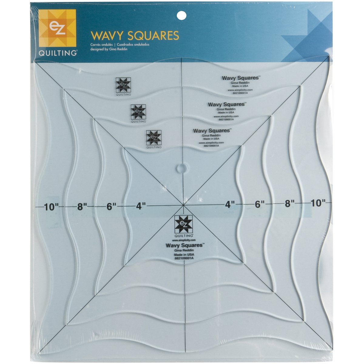 EZ Quilting Wavy Squares Acrylic Template Simplicity 109001A