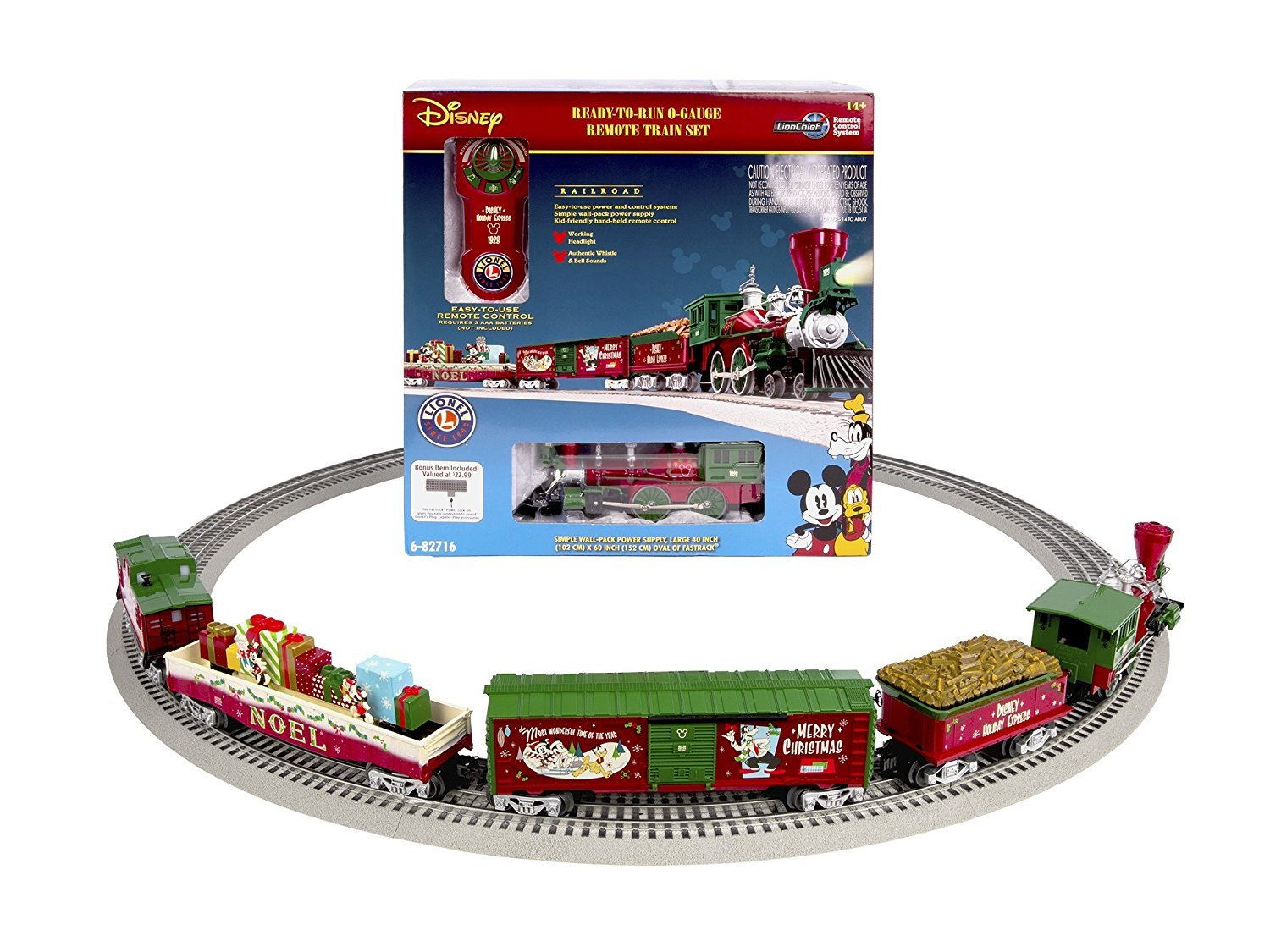 amazoncom lionel mickeys holiday to remember disney christmas train set o gauge toys games - Disney Christmas Train
