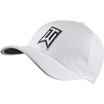 New Nike Tiger Woods Ultralight Tour Perforated White Black Adjustable Hat  Cap 07af3e2d067