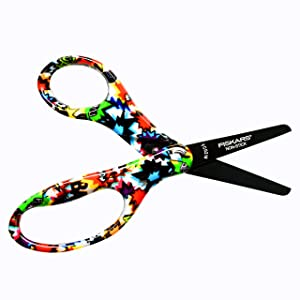 Fiskars Scissors for Kids 5 Inch Heavy Duty Safety Cut Scissors w/Blunt Tip, Round Edge & Non Stick Design Perfect for Kindergarten or Grade School Classroom #1 Youth Scissors Brand for Ages 4+