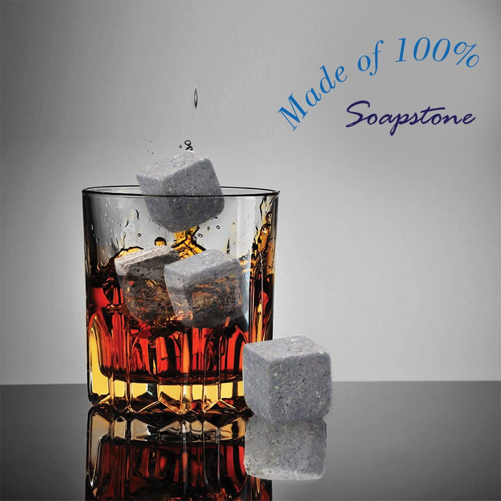 Pierres /à whisky vin ou dautres esprits Bourbon Yummy Sam r/éutilisable Ice Pierre effrayante Rocks Cubes en bo/îte cadeau avec /étui de transport Lot de 9/pour whisky