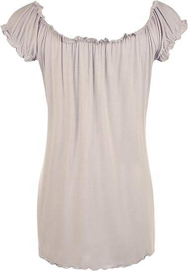 WearAll - Damen Übergröße Gypsy u-boot-ausschnitt boho Top - 18 Farben - Größe  40-58: Amazon.de: Bekleidung