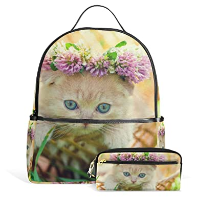 Image Unavailable. Image not available for. Color  School Backpack Bag with  Pencil Case Cute Little Kitten ... fd5d17b28e524