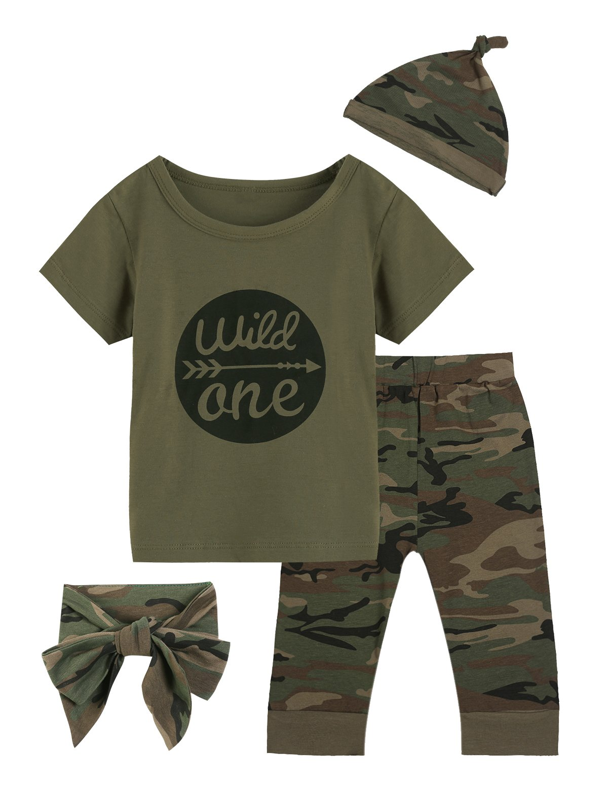 Baby Boys Girls Outfit Long Set 2PCS Camouflage Letter Print Shirt with Pants (Wild One Short Camouflage, 12-18 Months)
