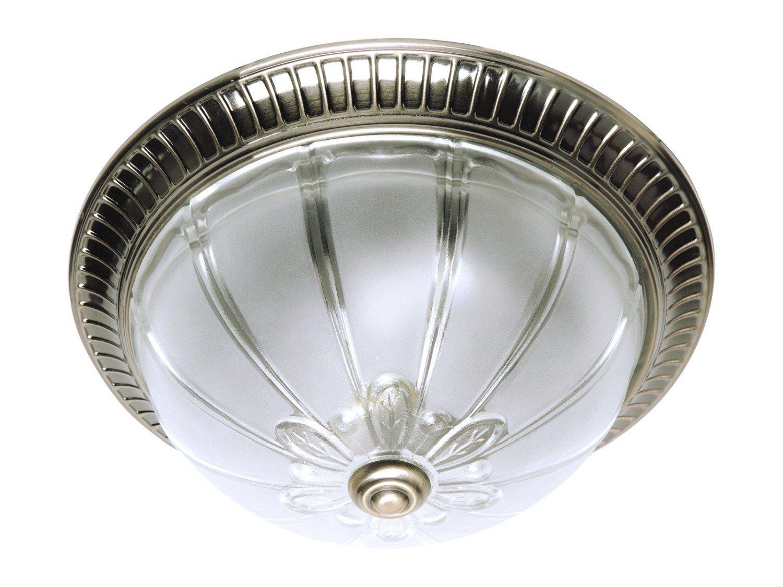 Muster 2 Jugendstil Deckenleuchte (Ø33cm, Jugendstil, Weiß, Messing, Halbkugel-Form, Ornament, 2-flammig) Messinglampe Jugendstilleuchte Innenleuchte Flurleuchte Deckenlampe