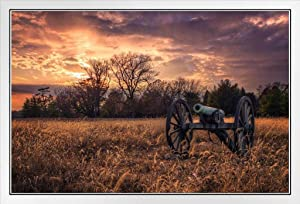 Civil War Cannon at Sunset Photo Photograph White Wood Framed Poster 20x14