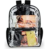 Clear Backpack by OMAYA - Durable PVC Bag for School, Travel, Security, Stadiums & More - Multi-Pockets Heavy Duty Clear Backpack for Adults & Kids - 5 Color Trim Clear Bookbag - Waterproof (Black)