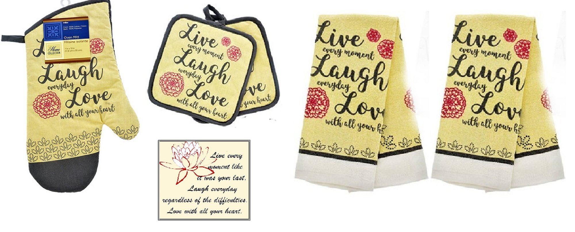 Live Laugh Love Decor Red, Gray and Cream Kitchen Towel 6 Piece Set - 2 Towels, 2 Pot Holders 1 Oven Mitt and Bonus Magnet