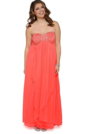 Deb Junior Plus Size Long Prom Dress with Babydoll Bodice and Stone Details Neon Coral 3X