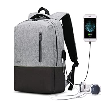 DEELFEL 15.6 quot  Laptop Backpack with USB Charging Port   Headset Port  Waterproof Travel Backpacks for be5e8e3aeb7d7