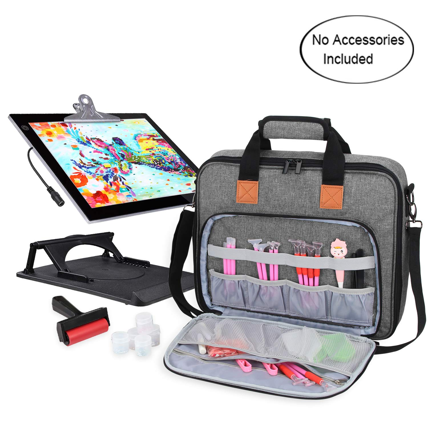 Luxja Carrying Bag for A4 Light Pad and Diamond Painting Tools, Protective Case for Diamond Painting Light Box and Accessories(Fits for A4 Light Pad), Gray by LUXJA