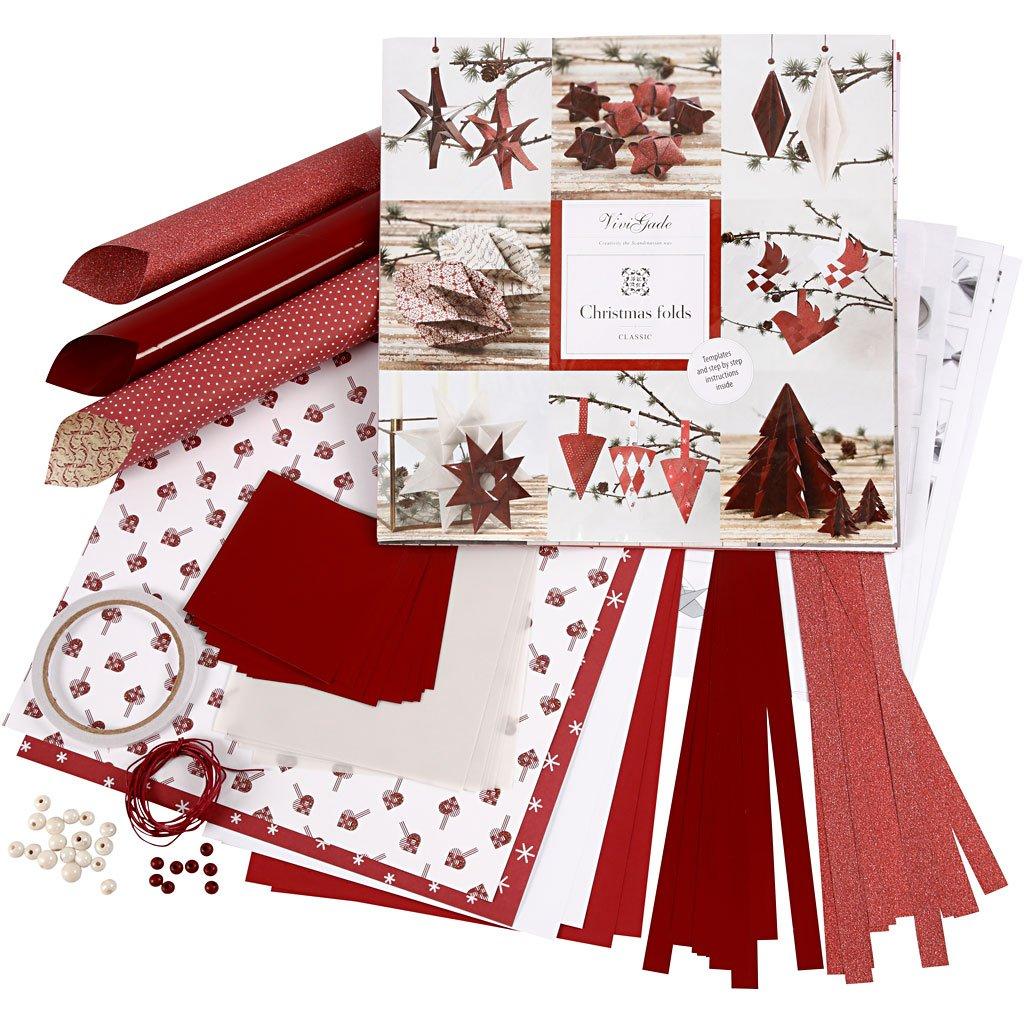 Set di materiale da intrecciare e piegare, bianco, rosso, Copenhagen, 1set Vivi Gade Design