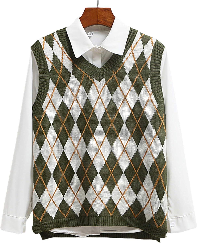 CORAFRITZ Women Preppy Sweater Vest V Neck Knit Sweaters Sleeveless Plaid Crop Knitwear Streetwear Tank Tops
