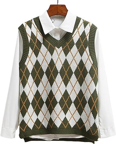 Women Streetwear Preppy Style Knitwear Tank Top V Neck Argyle Plaid Knitted Sweater Vest