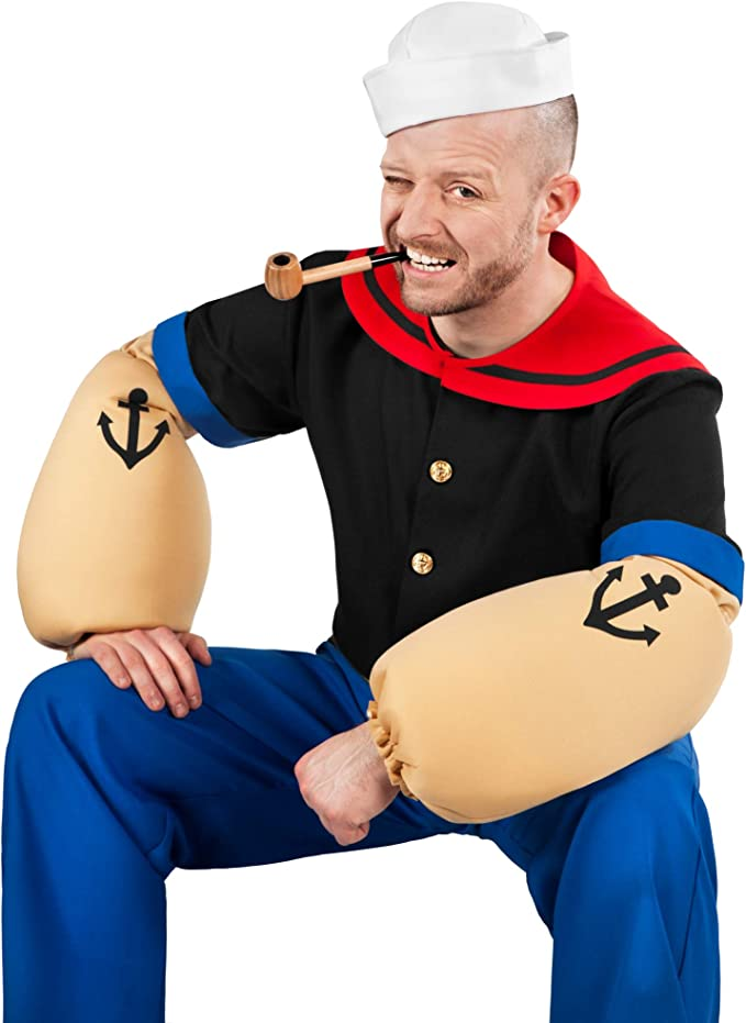 Maskworld Disfraz de Popeye, el Marinero (6 Piezas con Camisa ...