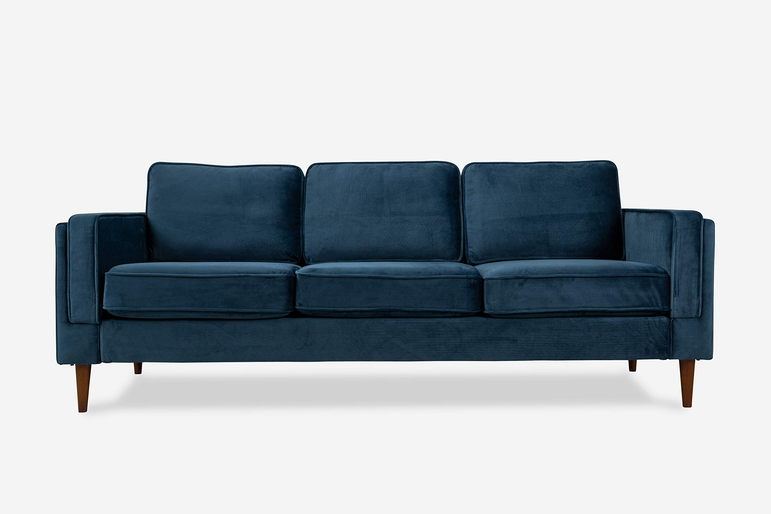ALBANY PARK Mid-Century Modern Sofa, Blue Velvet by ALBANY PARK