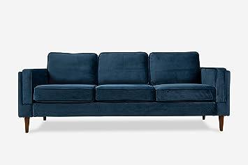 ALBANY PARK ALBANY3S Mid-Century Modern Velvet Sofa, Blue