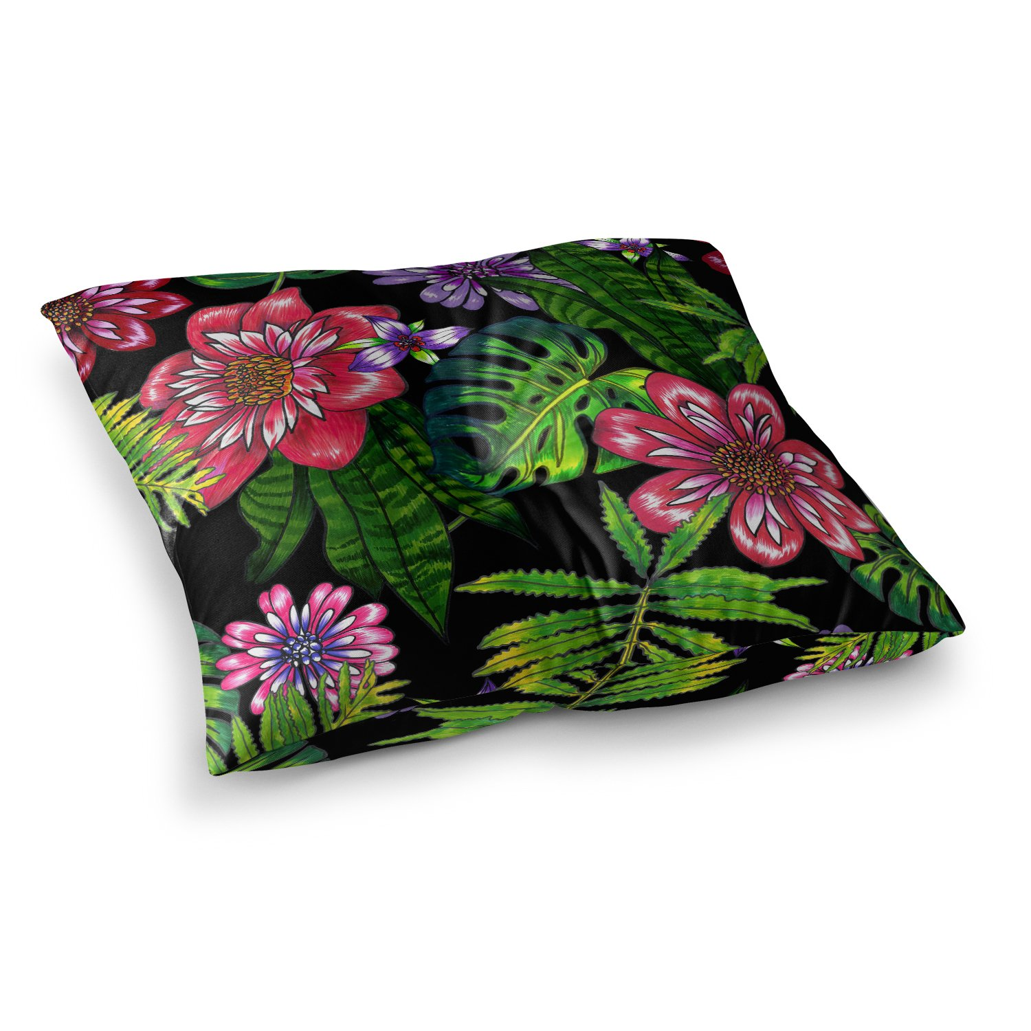 26 x 26 Square Floor Pillow Kess InHouse Victoria Krupp Doodle Tropic Green Pink