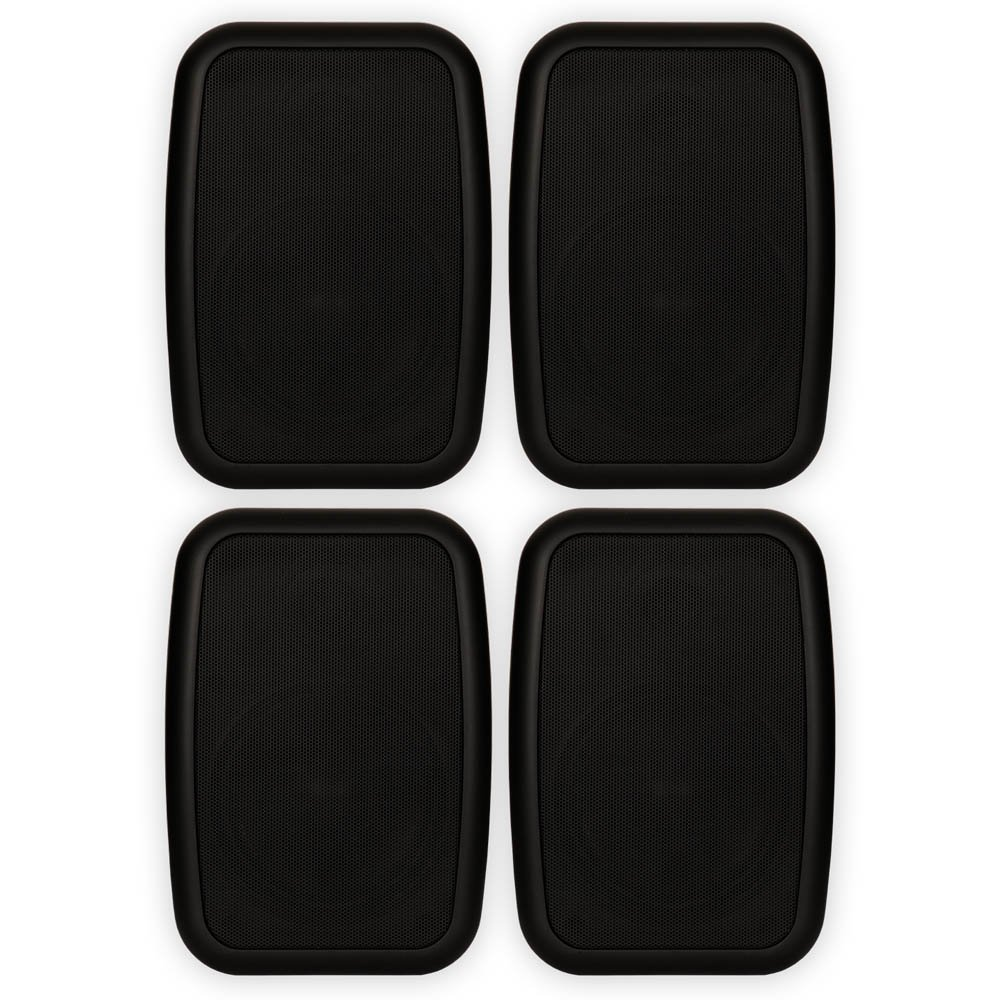 Theater Solutions 2 Pairs of New Indoor or Outdoor Weatherproof HD Mountable Black Speakers 2TS525ODB by Theater Solutions