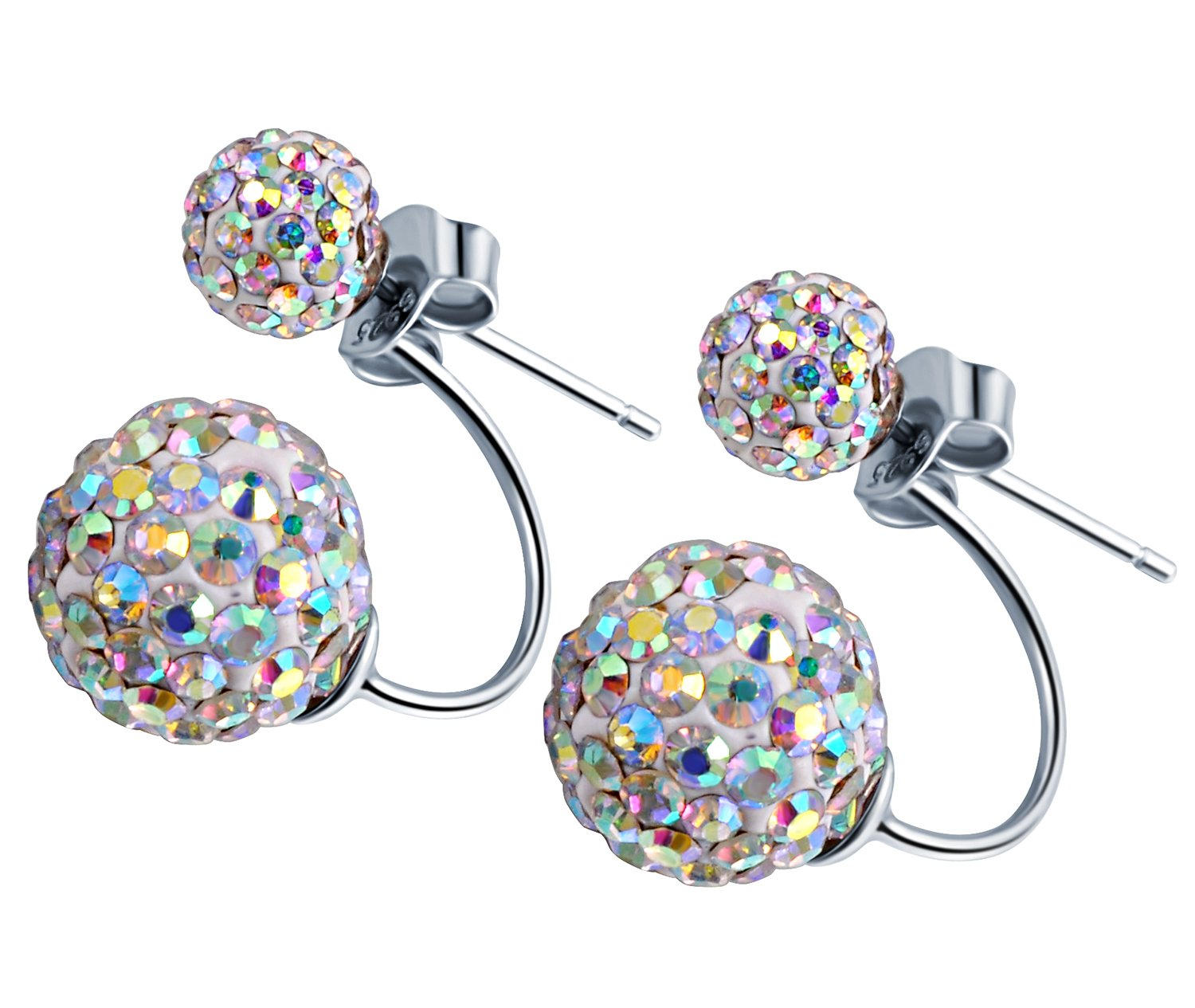 Infinite U Women's 925 Sterling Silver Crystal Pave Colorful Disco Ball Ear Jackets DIY Earrings