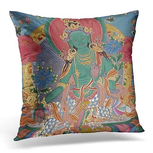 Kinhevao Cojín Verde Tibetano Tara Thanka Budista Espiritual ...