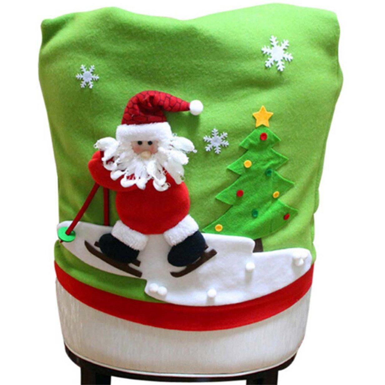 Lalang Weihnachten Stuhlhusse für Weihnachtstisch Dekoration (Elch) 88_Store