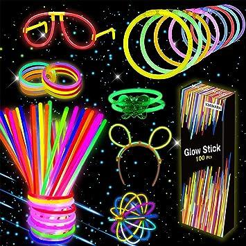 Kimimara Barras Luminosas, 100 Palos Luminosos con 122 Conectores para Pulseras y Pelotas, Iluminación para Juguetes, Ideal para Fiestas en la Oscuridad ,de 20 Centímetros de Largo (Colores Mezclados): Amazon.es: Juguetes y juegos