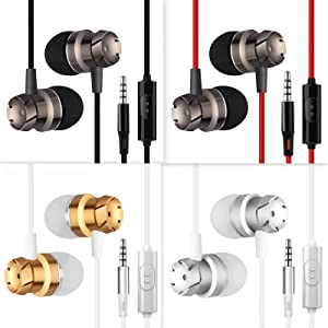 homEdge Wholesale 4 Packs in-Ear Earphone with Mic and Remote Control, 3.5mm Wired Tangle Free Earbuds Headset Headphone for Smartphone, Desktop, Laptop, MP3, Walkman (Black+White+Red+Golden)