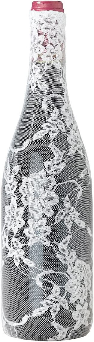Lillian Rose Vintage Lace Cream Table Decor Wine Bottle Cover Standard Clear Bar Tools Drinkware