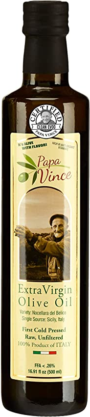 Papa Vince Olive Oil Extra Virgin, First Cold Pressed Family Harvest 2019/20, Sicily, Italy, NO PESTICIDES NO GMO, Keto Whol