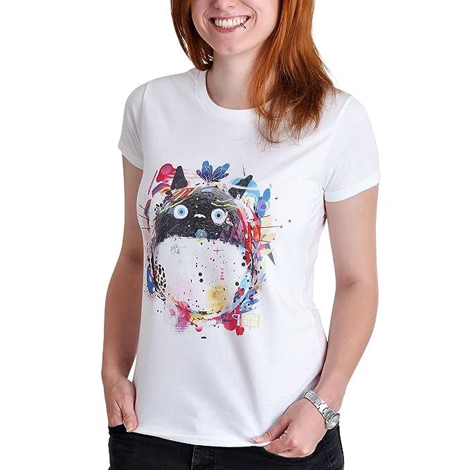 Totoro Toneko Damas Camiseta para el algodón Blanco Animado - XL